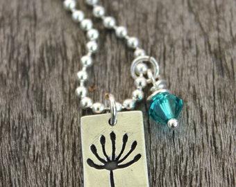 Make a wish necklace, dandelion head pendant, dandelion seed necklace, silver make a wish jewelry, silver seed head pendant, dandelion clock