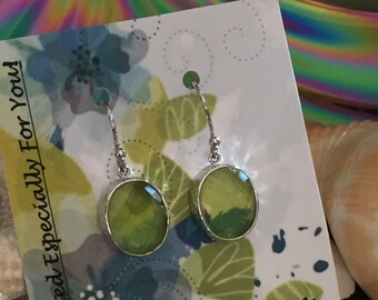 Peridot August Apple Green faceted Oval Glass Silver Earrings