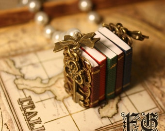 Royal Fable Miniature Book Necklace - Pearl (Made to Order)