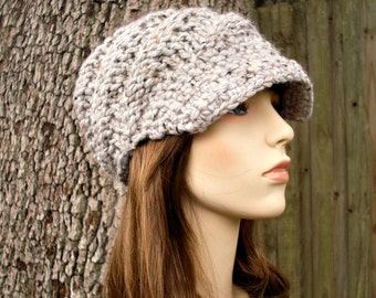 1e1bc41a169338 ... new style marble grey newsboy hat chunky knit hat womens hat swirl  beanie with visor grey