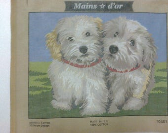 """Canvas embroidery""Two dogs""40 x 50cm"""