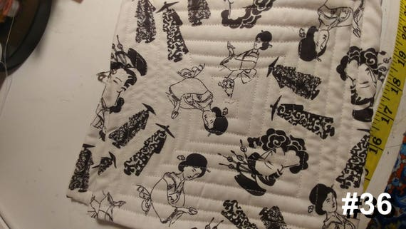 CHARITY (Black & white with Asian women HOT PAD set of 2 #36)