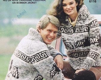 White Buffalo 16 Two Styles Cowichan Native Canadian Sweater Knitting Pattern Digital PDF
