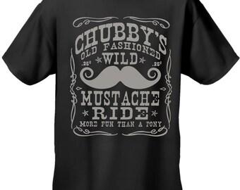 Chubby's Old Fashioned Wild Mustache Ride Biker Mens Tshirt - #B330