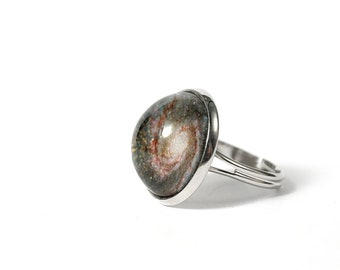 The Whirlpool Galaxy platinum plated ring, space ring, antiallergic jewelry, Nebula ring, Constellation Jewelry