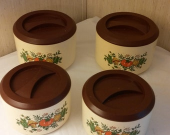 Set of 4 vintage 1970s canisters, retro 1970 kitchen canisters, plastic kitchen canisters for flour, sugar, tea and coffee, vintage canister