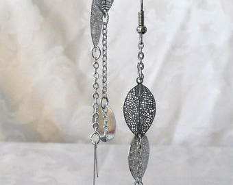 Silver leaf 10.2 cm earrings