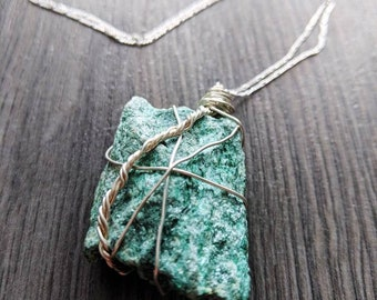 Dazzling raw Fuschite on sterling silver chain