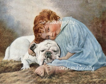 "Little Girl and Dog Restored  Art ""Beauty and the Cutie"" #543"