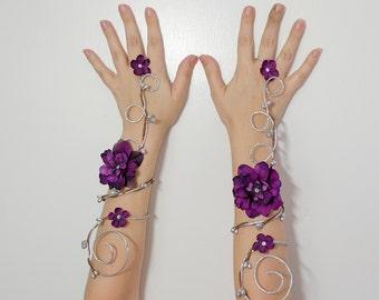 Silver and purple arm cuffs - fairy accessory