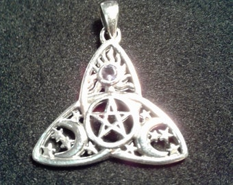 Sterling Silver Celtic Triquetra With Pentagram, Synthetic Amethyst and Celestial Design Pendant #9384