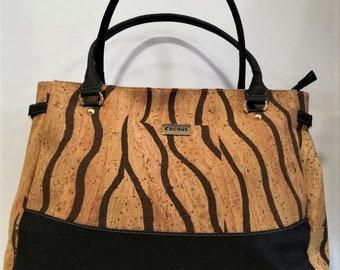 Natural Cork Handbag with Zebra Design - Fine Cork Bag - Cork Women Purse - Eco-friendly Shoulder Bag
