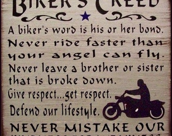 Biker's Creed Primitive Rustic Distressed Country Wood Sign Home Decor