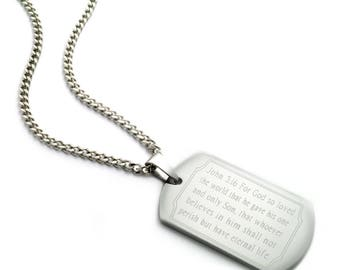 John 3:16 Bible Verse Dog Tag Necklace, Personalized Engraved Stainless Steel Dog Tag Necklace, Father's Day Gift, Gift For Dad SSN315