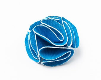Blue Flower Lapel Pin with White Trim