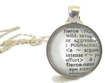 FIERCE Necklace, Fierce Definition, Dictionary Necklace, Bronze or Silver