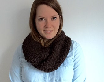Womens Knit Scarf - Womens Knitted Scarf - Chunky Knitted Infinity Scarf - Dark Brown Scarf - LEANNA SCARF