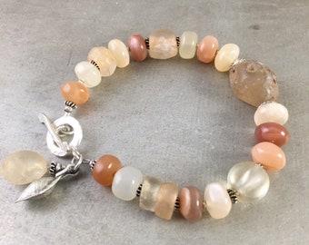 Peach Moonstone Bracelet, Ancient Agate Bracelet, Ancient Rock Crystal Bracelet, Rustic Bracelet, Organic Bracelet