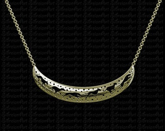 3D Whippet crescent necklace - Gold