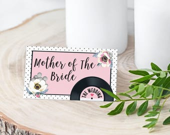 Wedding/ Party Name Place Cards - Floral Vinyl Record Inspired Design