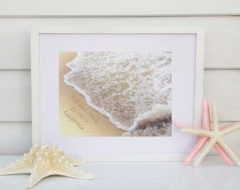 Name in the Sand Print, Beach Wedding Gift, Personalized Wedding Gift, Unique Wedding Gift, Wedding Print, Personalized Engagement Gift