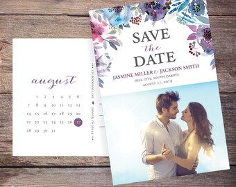 Save the Date Postcard, Save-the-Date Invite, Flowers, Floral, Card, Photo, DIY Printable, Digital File – Jasmine