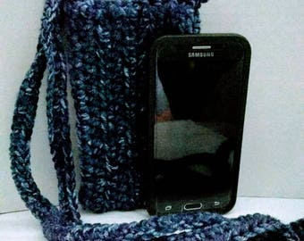 Crocheted denium cross body cell phone pouch Cozy