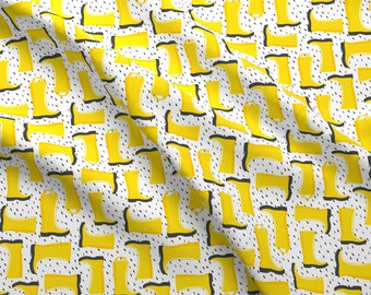 Rain Boots Fabric - Yellow W/Rain By Littlearrowdesign Wellies Fabric Illustrated Spring Showers- Cotton Fabric By The Yard With Spoonflower