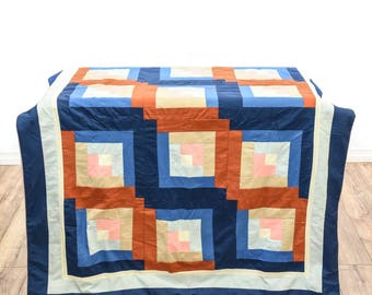 Vintage Country Chic Modern Color Block Quilt - FREE SHIPPING