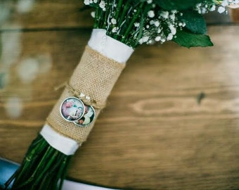 Custom Bridal Bouquet Picture Charm - Wedding Memorial Bouquet Charm - Bouquet Accessory - Bridal Shower Gift - Bouquet Jewelry