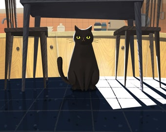 Cat Under Kitchen Table Print