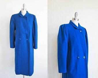 1980s vintage bright royal blue wool long coat jacket L