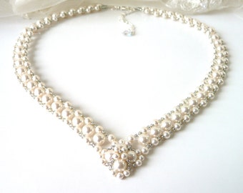 V Necklace, Pearl Necklace, Statement Necklace, Wedding Necklace, Wedding Jewelry, Bridal Necklace, Beaded Necklace, Bridal Jewelry