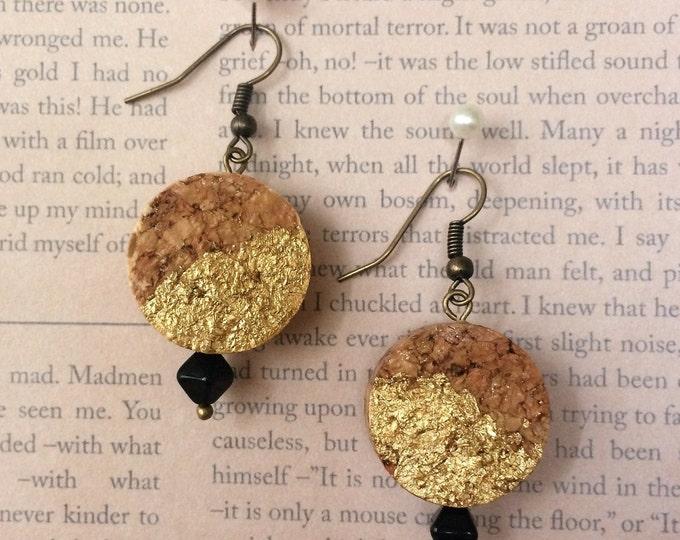 Gold-Leaf Wine Cork Earring