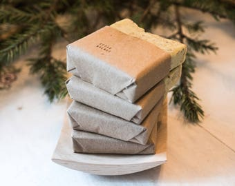 Four Pack of Pure Castille Soap with Handmade wooden soap dish