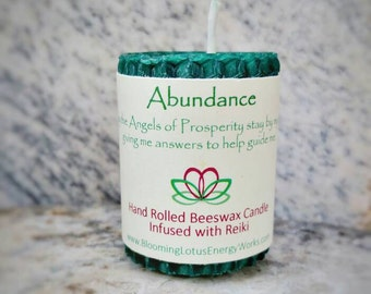 Abundance candle, beeswax candle, Energy candle, intention candle, Prosperity candle, eco friendly candle, unscented candle, votive candle