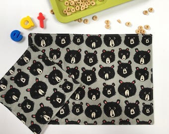 Black Bear Placemat and Napkin (Kids Lunch Set, Cloth Napkin, Kids Placemat, Back To School Gift,  Montessori Lunch, Gift Under 20)