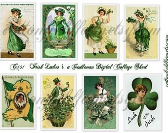 Vintage Irish Ladies and a Gentleman St. Patrick's Day Digital Collage Sheet C-151 for Cards, Scrapbooking, Journals, Tags, ATC, Decoupage