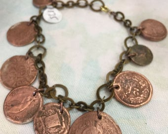 European Copper Coin Bracelet