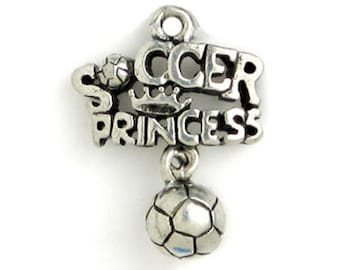 5 Silver Princess Soccer Charm 21x16mm by TIJC SP0706