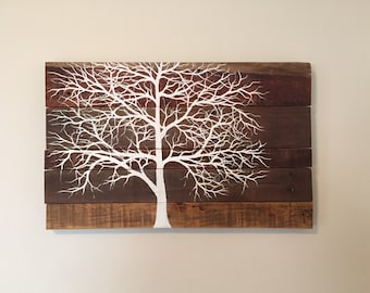 White tree acrylic painting on reclaimed wood