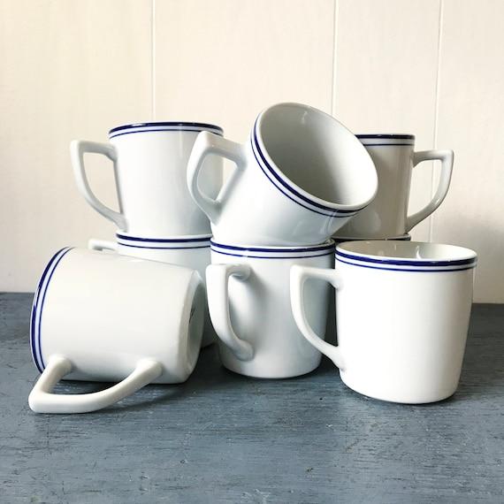 vintage Starbucks coffee cups - restaurant style mugs - white blue stripe - Set of 4