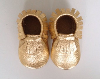 Metallic Gold Leather Baby Moccasins
