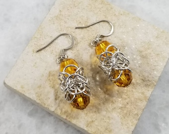 Chainmaille Earrings - Silver with Topaz Color Swarovski Beads