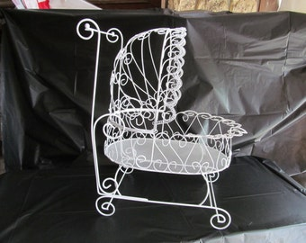 """Large 15"""" Antique Wire Carriage - Perfect for Baby Shower Decorations"""