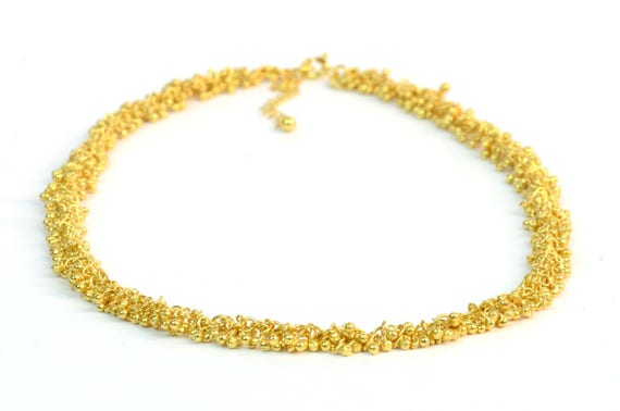 Gold vermeil statement necklace golden droplets jewellery