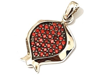 925 Silver Pomegranate Judaica Pendant Necklace set with Red Garnets  Stones