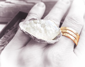 Dream fairytale ring size  6.25 in reclaimed fine silver with exquisite satin flash opal cab