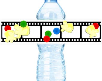 PRINTABLE Movie Nite #Bottle #Labels - (Instant Download) #DIY #digital #printable #file