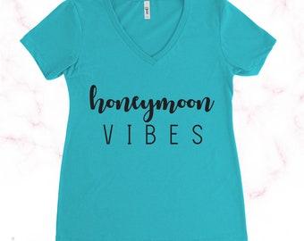 Honeymoon Vibes Women's Custom V Neck Fitted Shirt